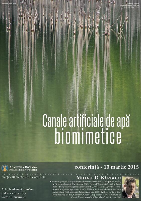 Afiș Conferință Canale artificiale de apă biomimetice