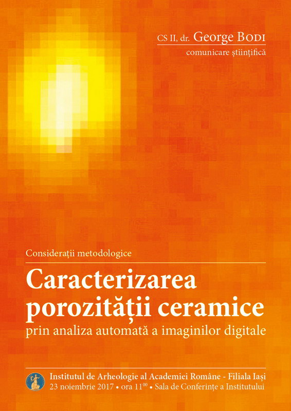 Afiș conferință Caracterizarea porozității ceramice